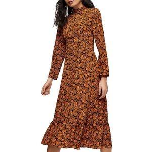 NWT Topshop Archive Floral Midi Dress Orange Multi